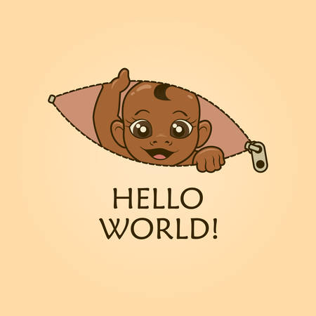 Cute peeking out African-American baby - concept for maternity t-shirt