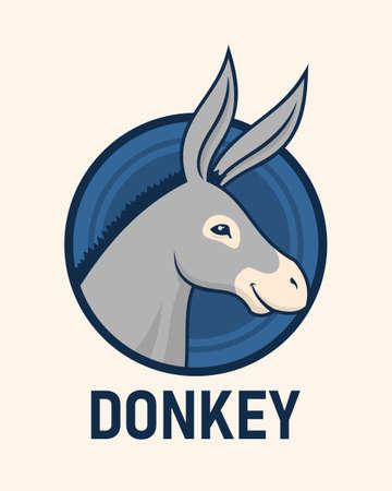Donkey head in circle. Cute donkey vector character mascot