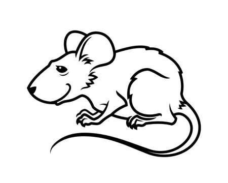 Rat mouse cute character mascot outline silhouette