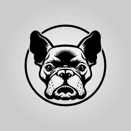 French bulldog head outline silhouette in circle