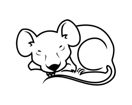 Mouse or rat character mascot outline silhouette