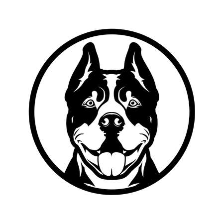 Pitbull boxer dog head cut out silhouette