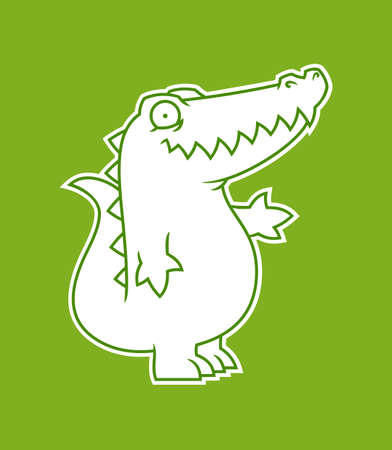 Alligator or crocodile silhouette cut out sticker