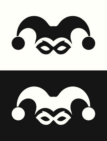 Jester hat and mask. Joker clown icon Ilustrace