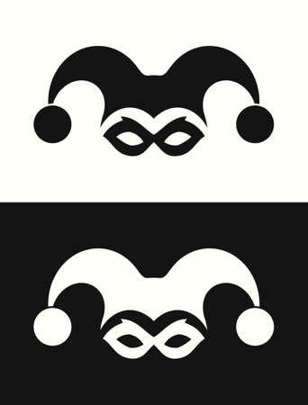 Jester hat and mask. Joker clown icon Ilustração