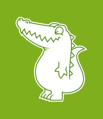 Cute alligator or crocodile cut out sticker Ilustração