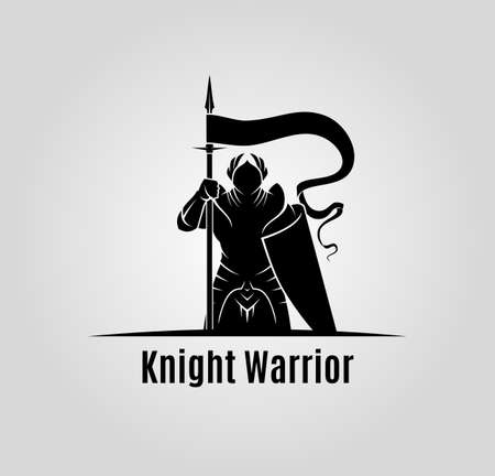 Knight with shield and spear vector silhouette Çizim