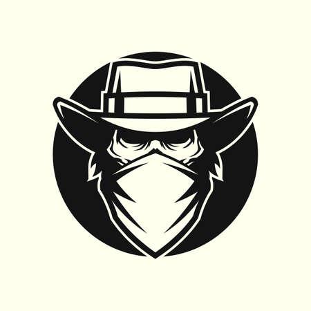 Dead man in mask and cowboy hat in circle Ilustração