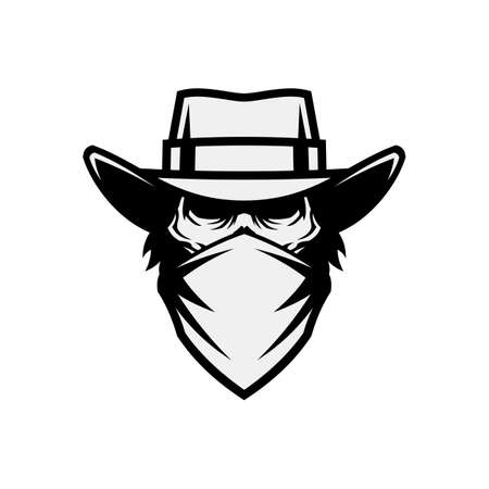 Human skull in mask and cowboy hat