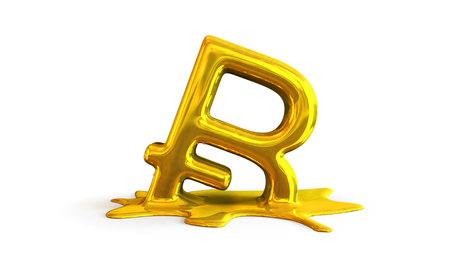 3D illustration of bitcoin symbol melting