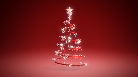 3D illustration of a Christmas tree on a red background