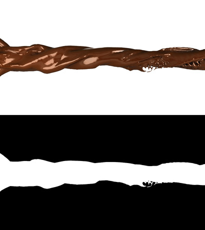 3D illustration of a chocolate flow with alpha 스톡 콘텐츠