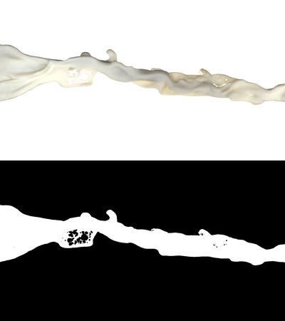 3D illustration of a milk flow with alpha