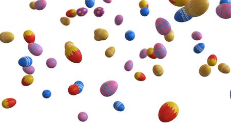 3D illustration of Easter eggs falling on a white background