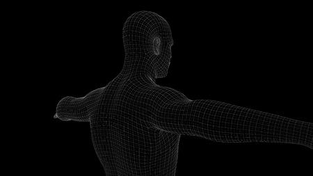 3d illustration of a man xray hologram Banco de Imagens