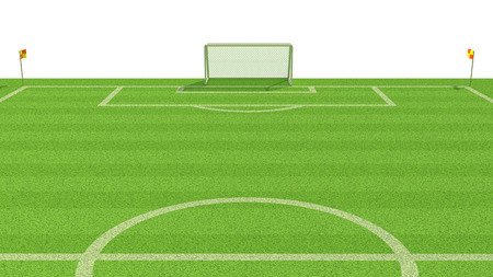 3d illustration of  a soccer field Stock Photo