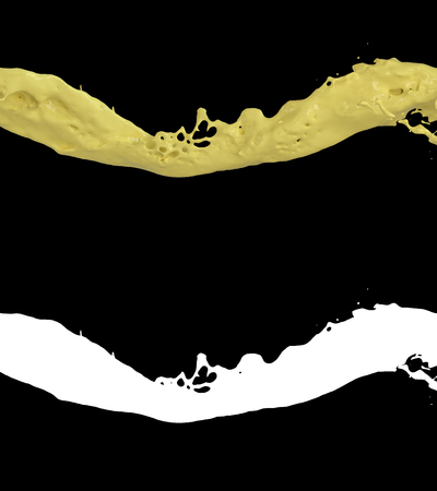 3D illustration of a orange juice flow with alpha layer 写真素材