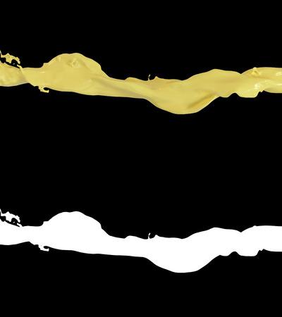 3D illustration of a orange juice flow with alpha layer Фото со стока