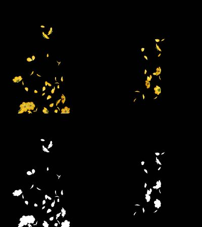 3D illustration of a yellow flower petals flow with alpha layer