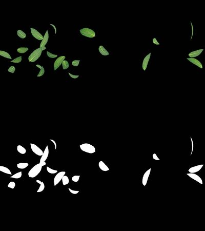 3D illustration of a mint leaves flow with alpha layer Imagens