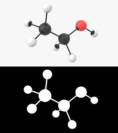 3D illustration of a ethanol molecule with alpha layer