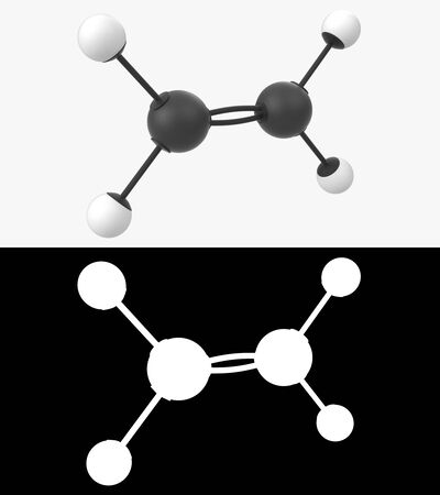 3D illustration of a ethylene molecule with alpha layer