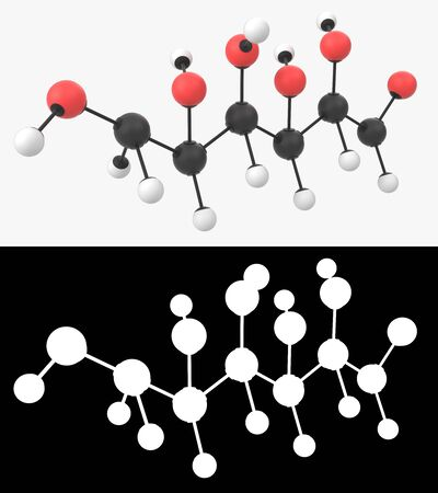 3D illustration of a glucose openchain molecule with alpha layer Imagens - 131770426
