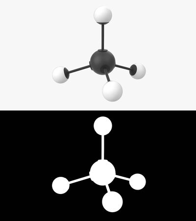 3D illustration of a methane molecule with alpha layer