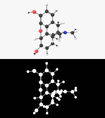 3D illustration of a morphine molecule with alpha layer Imagens - 131771822