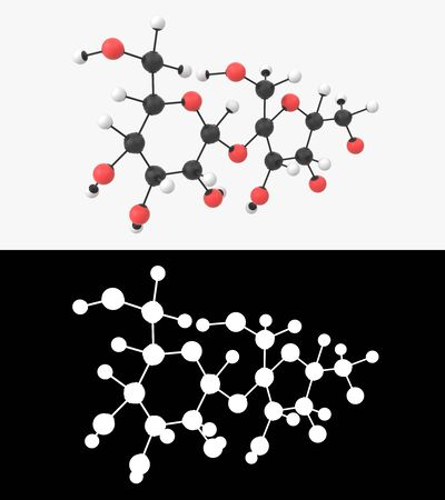 3D illustration of a sucrose molecule with alpha layer Imagens - 131770859