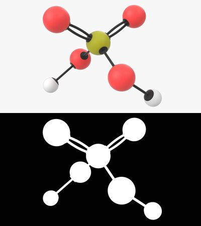 3D illustration of a sulfuric acid molecule with alpha layer Stock fotó