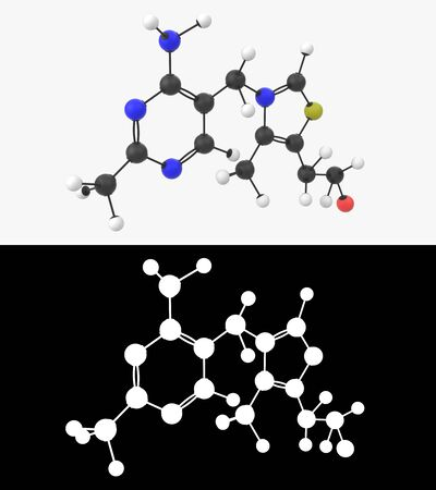 3D illustration of a vitamin B1 molecule with alpha layer Imagens