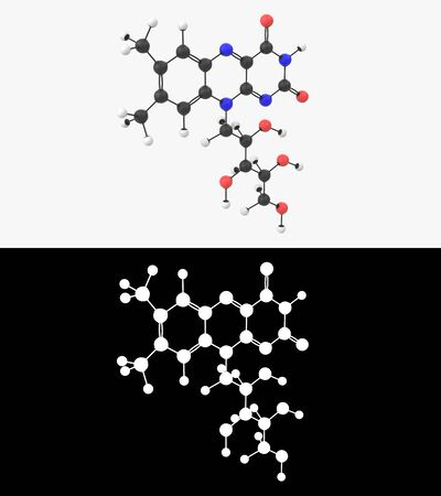 3D illustration of a vitamin B2 molecule with alpha layer