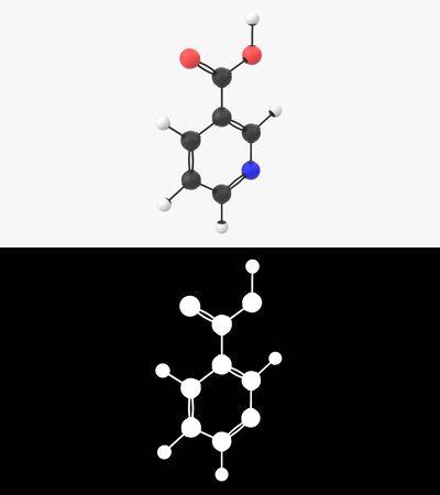 3D illustration of a vitamin B3 niacin molecule with alpha layer