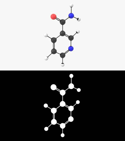 3D illustration of a vitamin B3  niacinamide molecule with alpha layer