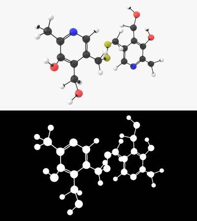 3D illustration of a vitamin B6 pyritinol  molecule with alpha layer