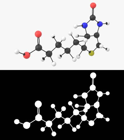 3D illustration of a vitamin B7 molecule with alpha layer Imagens - 131770409