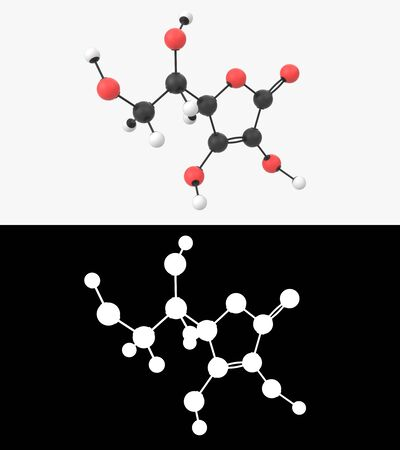 3D illustration of a vitamin C molecule with alpha layer Imagens - 131770876