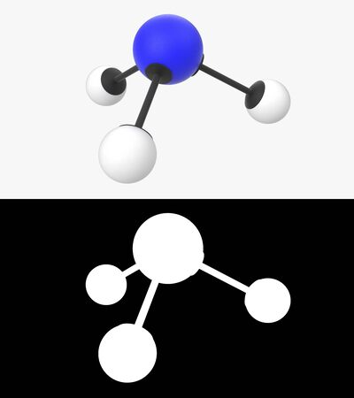 3D illustration of a ammonia molecule with alpha layer