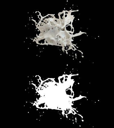3D illustration of a milk splash with alpha layer