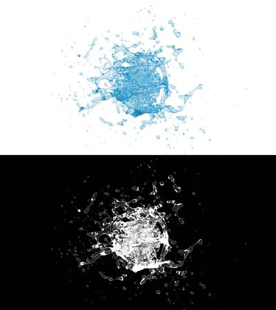 3D illustration of a blue water splash with alpha layer Фото со стока