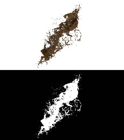 3D illustration of a chocolate splash with alpha layer