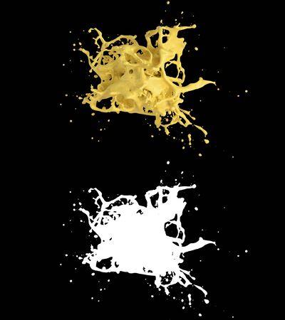3D illustration of a orange juice splash with alpha layer Imagens