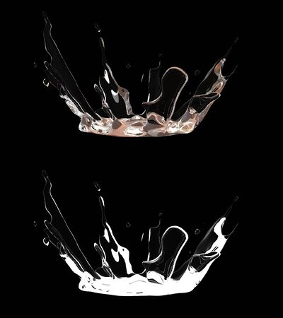 3D illustration of a water splash with alpha layer