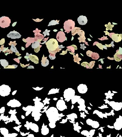 3D illustration of a paper flower flow with alpha layer Imagens