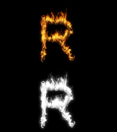 3D illustration of the letter r on fire with alpha layer