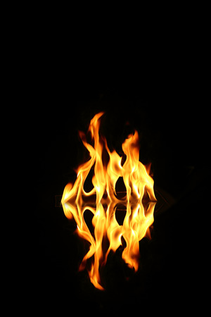 Flame of fire in a night-time photo