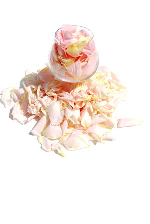 gentile: gentile rose petal lies much in goblet Stock Photo