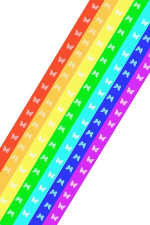 briliance: abstract rainbow with flying small butterfly inwardly Stock Photo