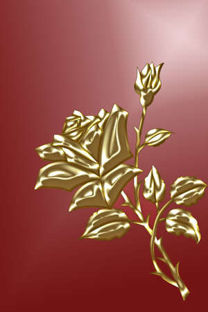 tranquillity: gold rose with bud on red background Stock Photo